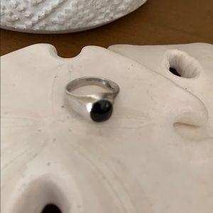 Black Onyx 925 Silver Women's Ring